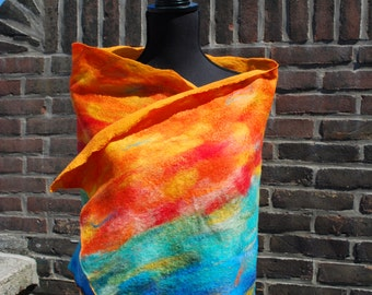 Sold out! Contact us for custom order options! Bright and colorful nuno felted shawl, the perfect accessory! Handmade for you by Biddies