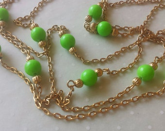 Hong Kong Plastic Necklace Grass Green Beads Gold Tone Metal Vintage 1960s
