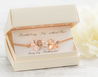 rose gold orchid bracelet as mother of groom gift as mother in law gift with  raising the man of my dreams card - crystal orchid jewelry