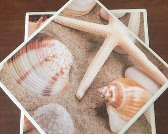 Beach coasters, Beach tile coasters, shell tile coasters, ceramic tile coasters, tile coasters, coaster set, table coasters