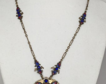 Spectacular Rare Art Nouveau Czech Dragon's Breath & Enamel Pendant Necklace