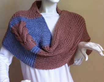 Soft Blue and Brown Scarf-Soft Scarf-Blue Scarf-Brown Scarf-one of a kind women's scarf.