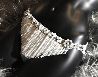 Burlesque Fringe Panties - Fringe Underwear - White Panties - Bling Underwear - Bling Lingerie - Embellished Lingerie