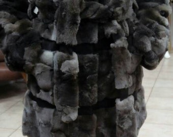 New,Natural,Real Modern Silver Fox Fur coat with leather stripes!!!