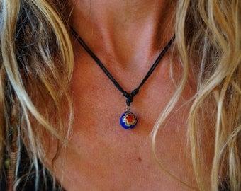 Bead Throat Chakra Charm Adjustable Necklace