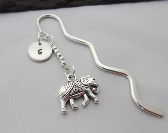 Initial Elephant Bookmark, Elephant Bookmark, Elephant Gift, Hand Stamped, Elephant Gifts, Gift For Her, Readers Gift, Book Lover Gifts