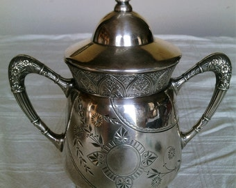 An Antique Ornate Collectible Triple Plate Silver Large Two Handled Sugar Bowl