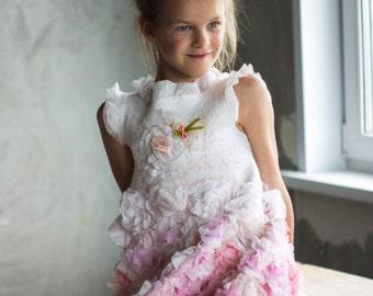 Felted Dress | Rose Dress | Girl Dress | Felt Dress | Spring Dress | Mother Daughter Matching Dress | Flower Girl Dress |  Wedding Dress