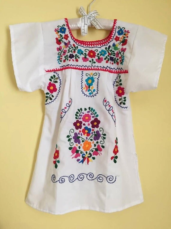 Mexican tunic embroidered flowers baby girls dress