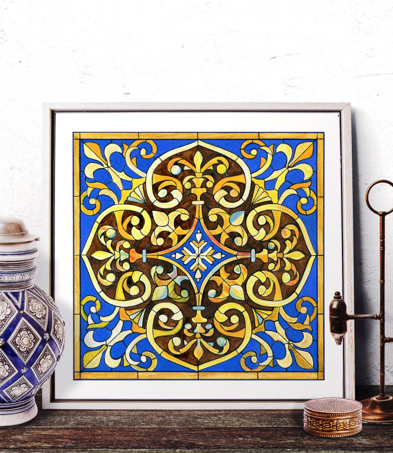 Stained glass art home decor mosaic tile wall art moroccan for Glass home decor