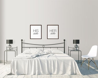 His and Hers Bedroom Prints, Set of Two Prints, Couple's Bedroom Art, Modern Bedroom Art, His Side Her Side Prints