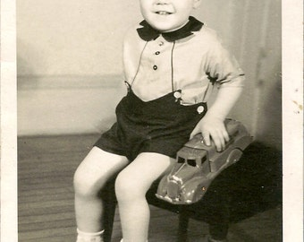 Vintage 1950's Photograph of a Boy and His Toy Truck Black & White Snapshot Photo