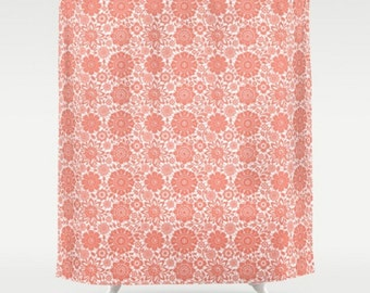 Floral Shower Curtain, Large Shower Curtain, Coral Shower Curtain, Flower Bath Curtain, White Coral Bath Curtain, Shower Curtain 71x74