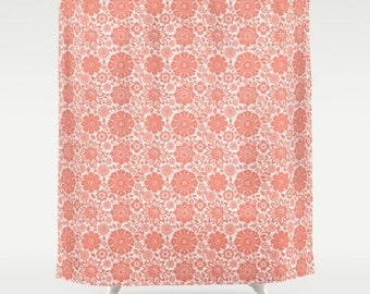 Coral shower curtain | Etsy