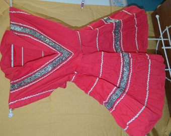 Incredible Vintage Patio Dress for Your Little Girl! Red Square Dance Party Dress