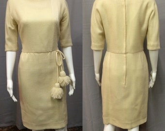 Vintage 1960's Cream Colored Knit Shift Dress