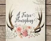 Florar antler printable, shabby chic, rustic floral antler print, Cottage decor, antler nursery decor, antler with flowers vintage style