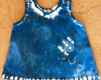 Size 6 m 100% cotton dress, hand dyed with natural indigo- New Sale Price!