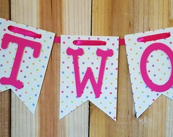Pink and Polka Dot High Chair Banner, Happy Birthday Banner, I Am One Banner, I Am  Two Banner