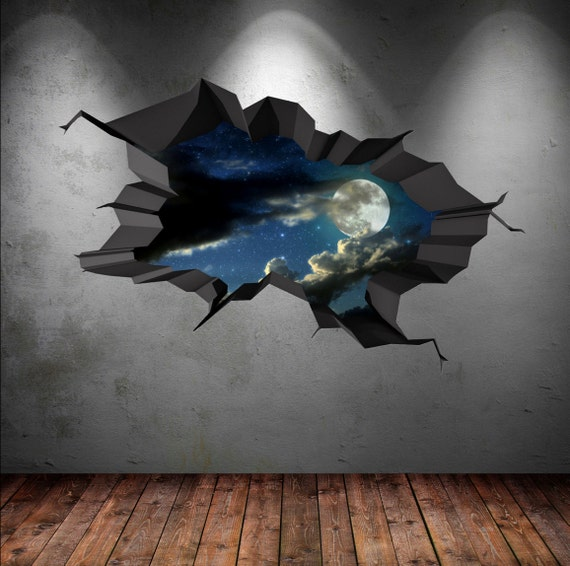 Wall decal earth moon space planet galaxy cracked 3d wall for Earth rising wall mural