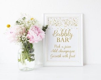 Bubbly Bar Sign, Gold Mimosa Bar Sign, Gold Confetti Bubbly Bar Sign, Gold Dots Instant Download PDF Printable