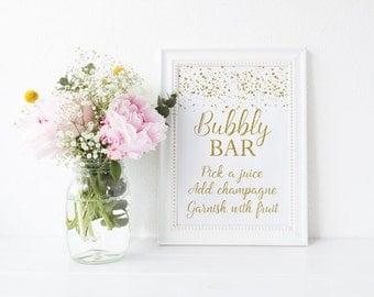 Bubbly Bar Sign, Gold Mimosa Bar Sign, Gold Confetti Bubbly Bar Sign, Gold Dots Instant Download PDF Printable