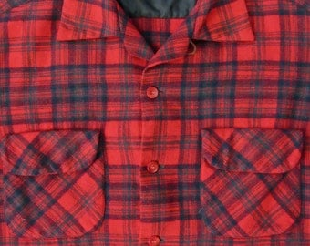 Vintage dated 1960 ~ PENDLETON Wool Board Shirt ~ M  ~ Flannel ~ Loop Collar ~ 1960s