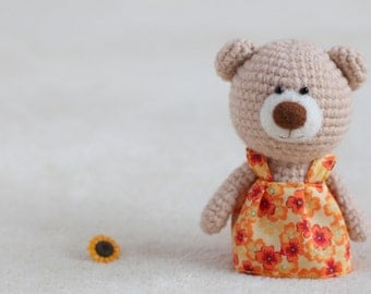 Crochet amigurumi teddy bears in the dresses - small teddy bear, personalized bear gift, birthday bear, custom teddy bear MADE TO ORDER