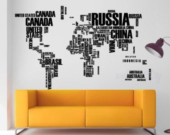 World map wall decal Country's name wall mural World map wall stickers World map wall murals Large world map wall decal World map-2