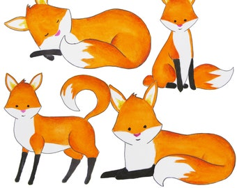 Watercolor fox clipart, foxes clipart, Red fox clip art, Forest animal clipart, Fox illustration, Foxes illustration, Fox nursery art