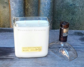 Woodford Reserve Bourbon Gift Scented Candle, Recycled Bar Bottle Decor Perfect For Any Man Cave