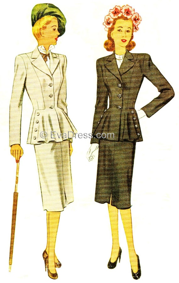 1940s Sewing Patterns – Dresses, Overalls, Lingerie etc 1947 Two-Piece Suit New-Look Inspired Pattern by EvaDress $28.00 AT vintagedancer.com