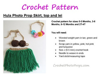 Crochet pattern-Hula/Luau Grass Skirt, Coconut bra, headband~PHOTO PROP~Sizes Newborn-3 mos,3-6 mos,6-12 mos & toddler~Immediate Download