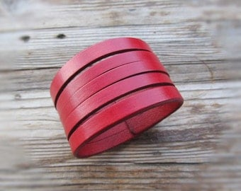 """Size 7.5"""" Red Leather Cuff Bracelet for Women, Womens Leather Bracelet, Red Leather Cuff for Girls, Genuine Leather, Valentines Day Gift"""