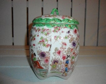 Vintage Vase, Japanese Vase, Vase, Home Decor, Hand Painted, Japanese, Porcelain Vase, Eggshell, Satsuma, Tea Caddy, Jardiniere