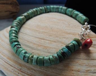 Turquoise  bracelet - coral bracelet - western bracelet - layering bracelet - December birthstone - heshi turquoise bead - Native American