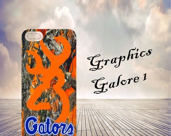 Phone case with Florida Gators logo and Browning Deer with orange camo
