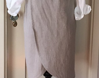 Washed Linen, Curved Cross Back, Japanese Apron, Smock, Pinafore, Layering Wardrobe Piece, Medium/Large