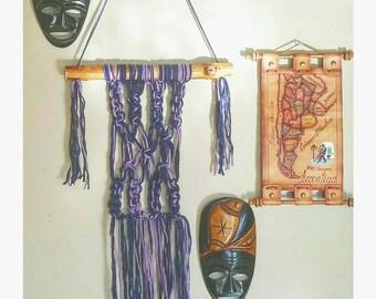 Small Purple Macrame Wall Hanging