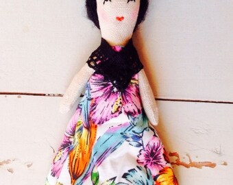 Frida Kahlo. Mini Doll. Icon Doll. Cloth Doll. Art Doll.