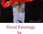 Red Acrylic Flower Painting. Red Floral Impasto Art. Miniature Painting. Romantic Girlfriend Present. 72