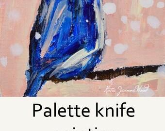 Blue Jay Bird Painting. Mini Acrylic Animal Portrait.  Pink Cottage Chic Decor. Stocking Stuffer. 106