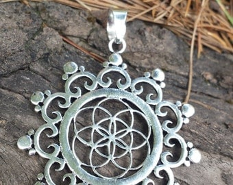Sacred Geometry Seed/ Flower of Life Silver Plate Pendant - approx 4.3cm diameter
