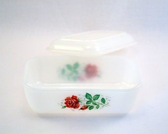 Vintage butter dish ARCOPAL / roses pattern 60s