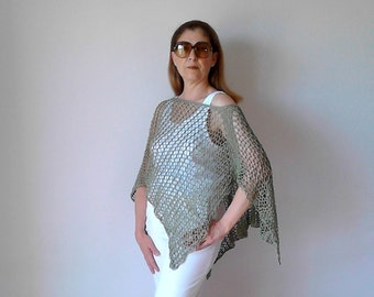 Poncho, beach cover up, crochet poncho, knit poncho, summer poncho dress cover up boho poncho women ponchos hippie poncho cotton poncho mesh