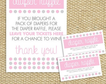 Baby Shower Diaper Raffle Tickets - PinkyDots
