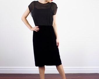 Vintage 1950s Black SILK Sweetheart Illusion Dress / Semi Sheer Bodice / Velvet Skirt / M