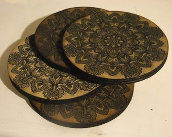 Wood Vintage Victorian Gothic  Style Coasters