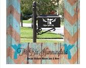 Hummingbird Decal, Mailbox Decal, Hummingbird Mailbox, Custom Mailbox Monogram, Monogram Decal, Personalized Mailbox, Hummingbird Monogram