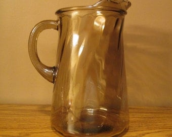 "Iced Tea Pitcher - Amber Heavy Glass with Solid Glass Handle - 9.5"" High - Lemonade/Milk - Very Nice Vintage Condition - with Free Shipping"
